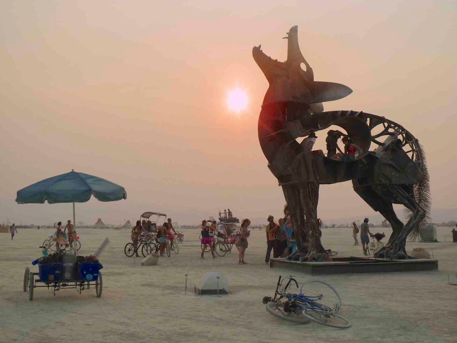 Coyote steel sculpture in the middle of Burning Man