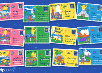 illustration of postcards from each destination with the signs that should travel there
