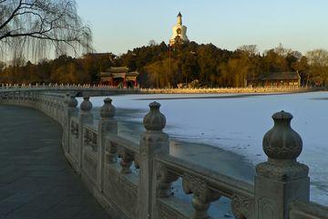 China, Beijing, Beihai Park, bridge of overlasting peace and white pagoda