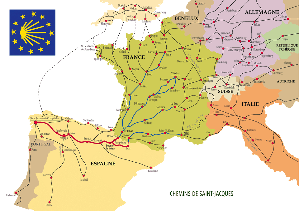 Camino de Santiago routes through Europe