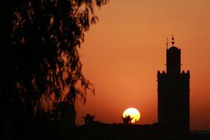 The sun setting over Marrakesh