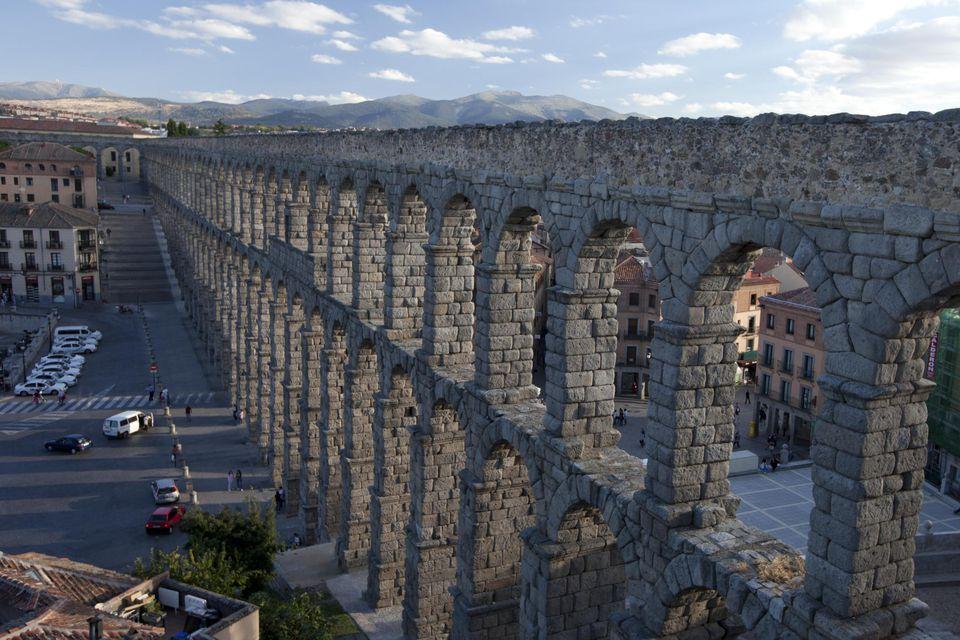 Roman Aqueduct in Segovia spain The monument