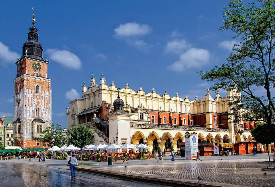 Main market square cloth hall in Krakow Poland