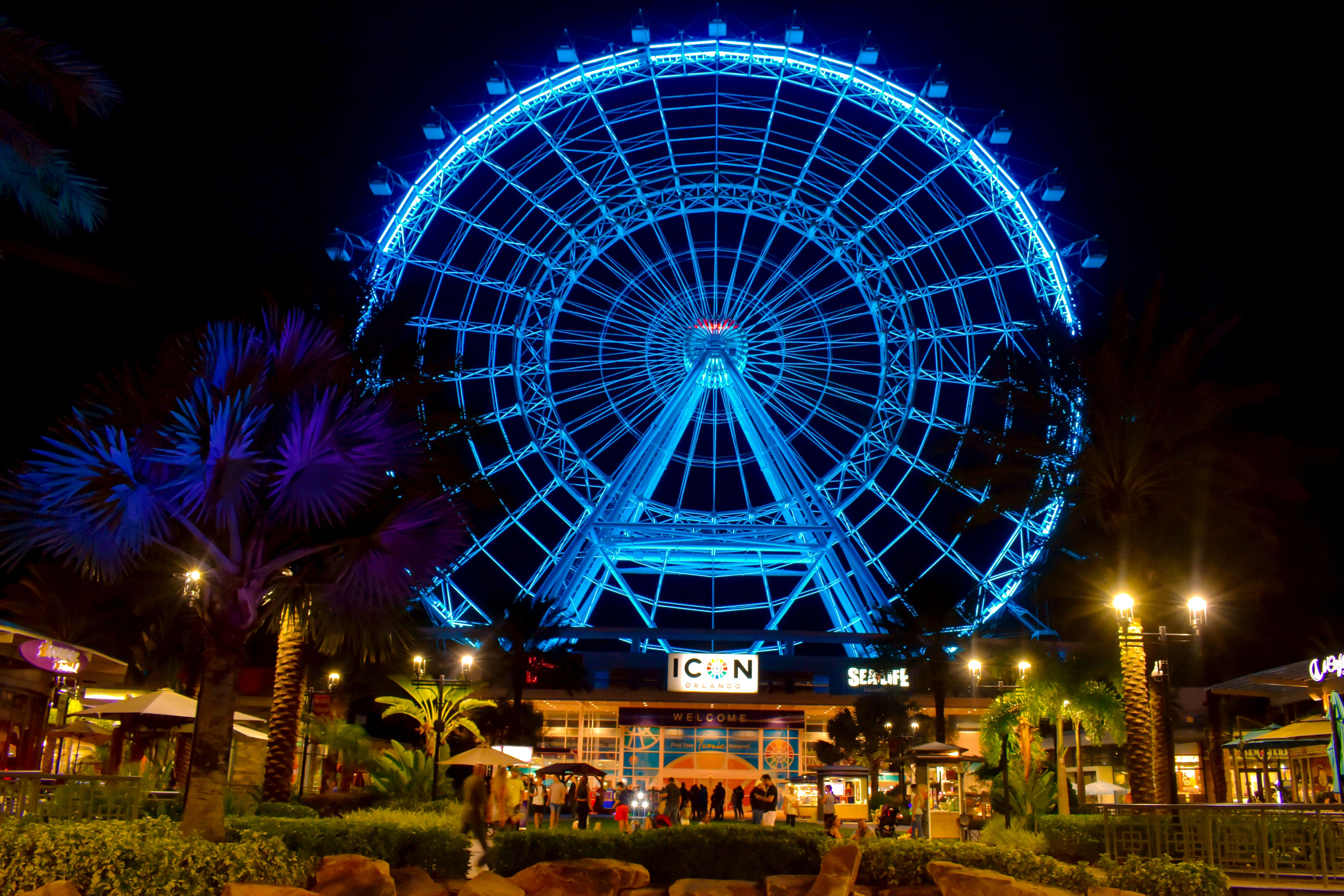 The Illuminated and colorful big wheel at night in the International Drive area