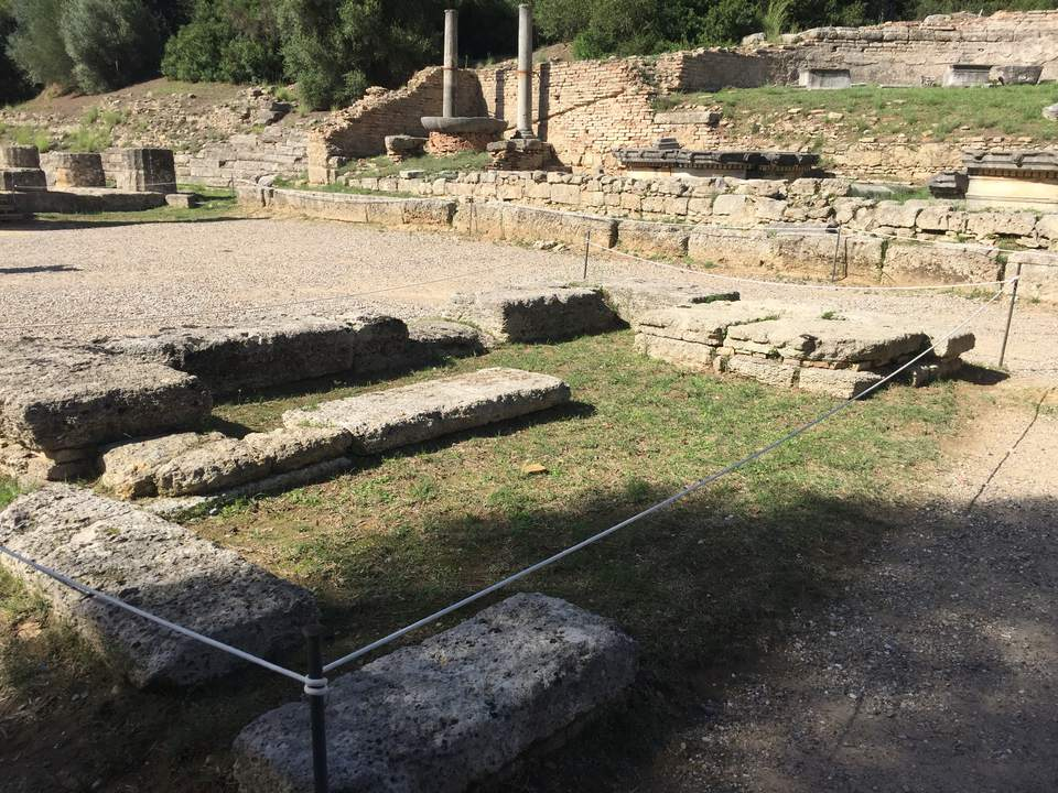 Remains of the Temple of Hera in Olympia, Greece