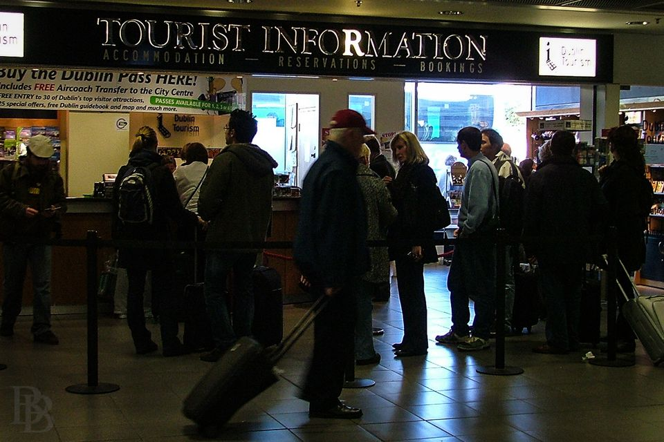 Queuing at the Tourist Information in Dublin Airport