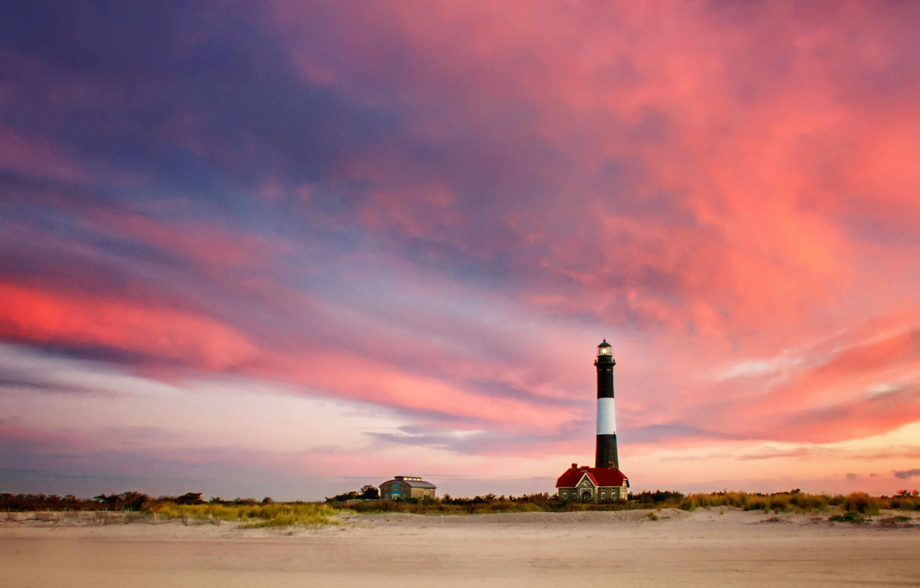 Dramatic Pink Sunrise at Fire island Lighthouse