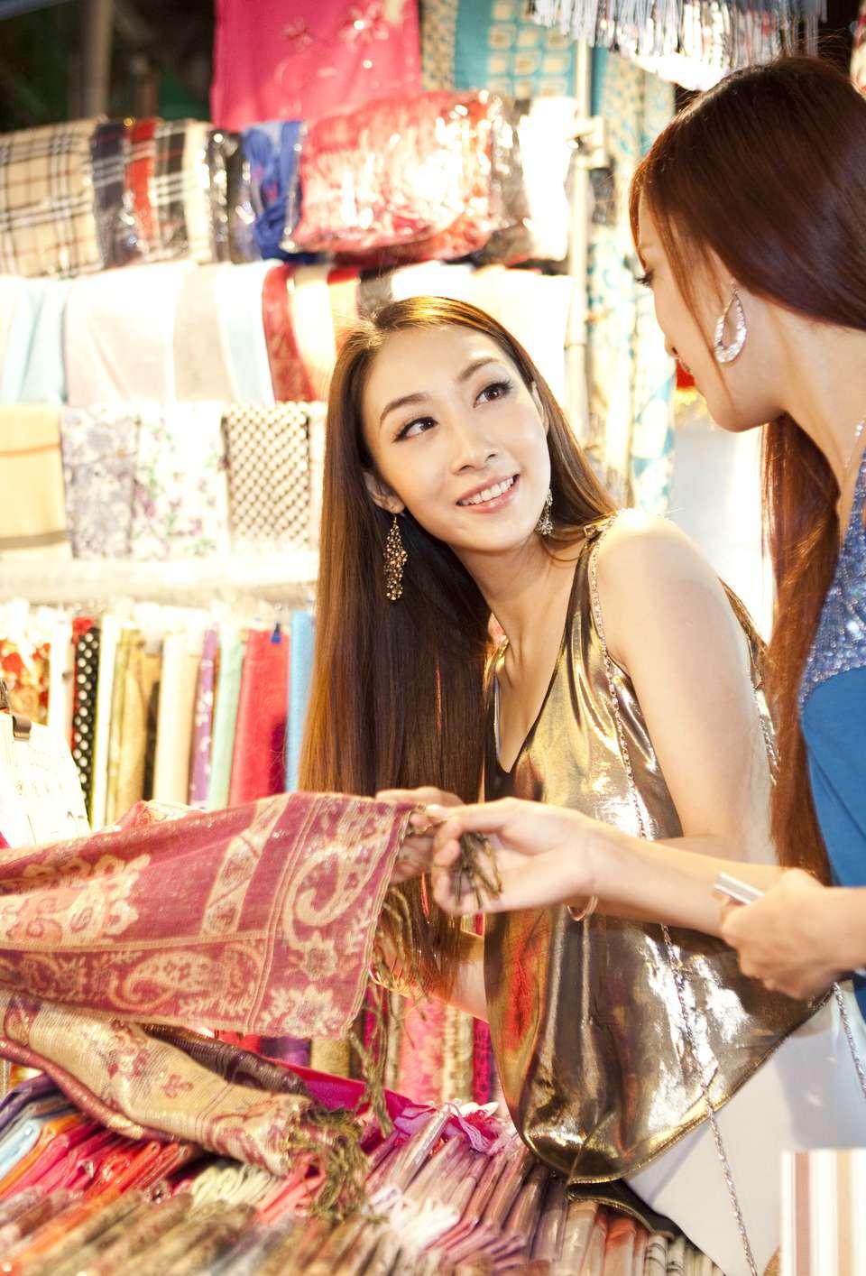 Fashionable young women shopping on Hong Kong's Temple Street