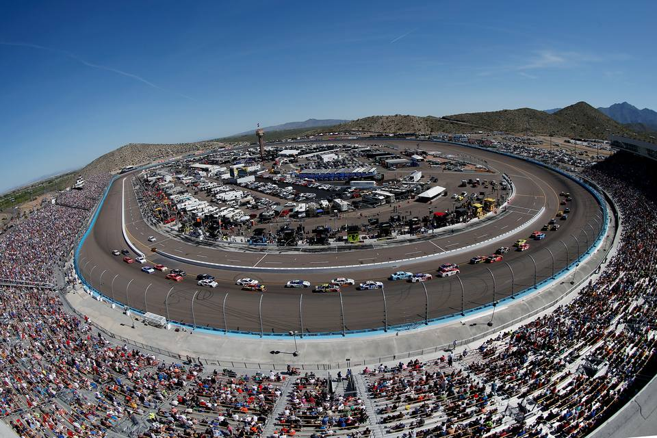 Wide angle view of a NASCAR event at Phoenix International Raceway