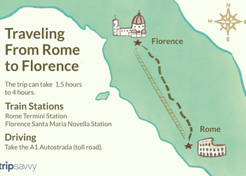 An illustrated map of the routes described in the article from Rome to Florence