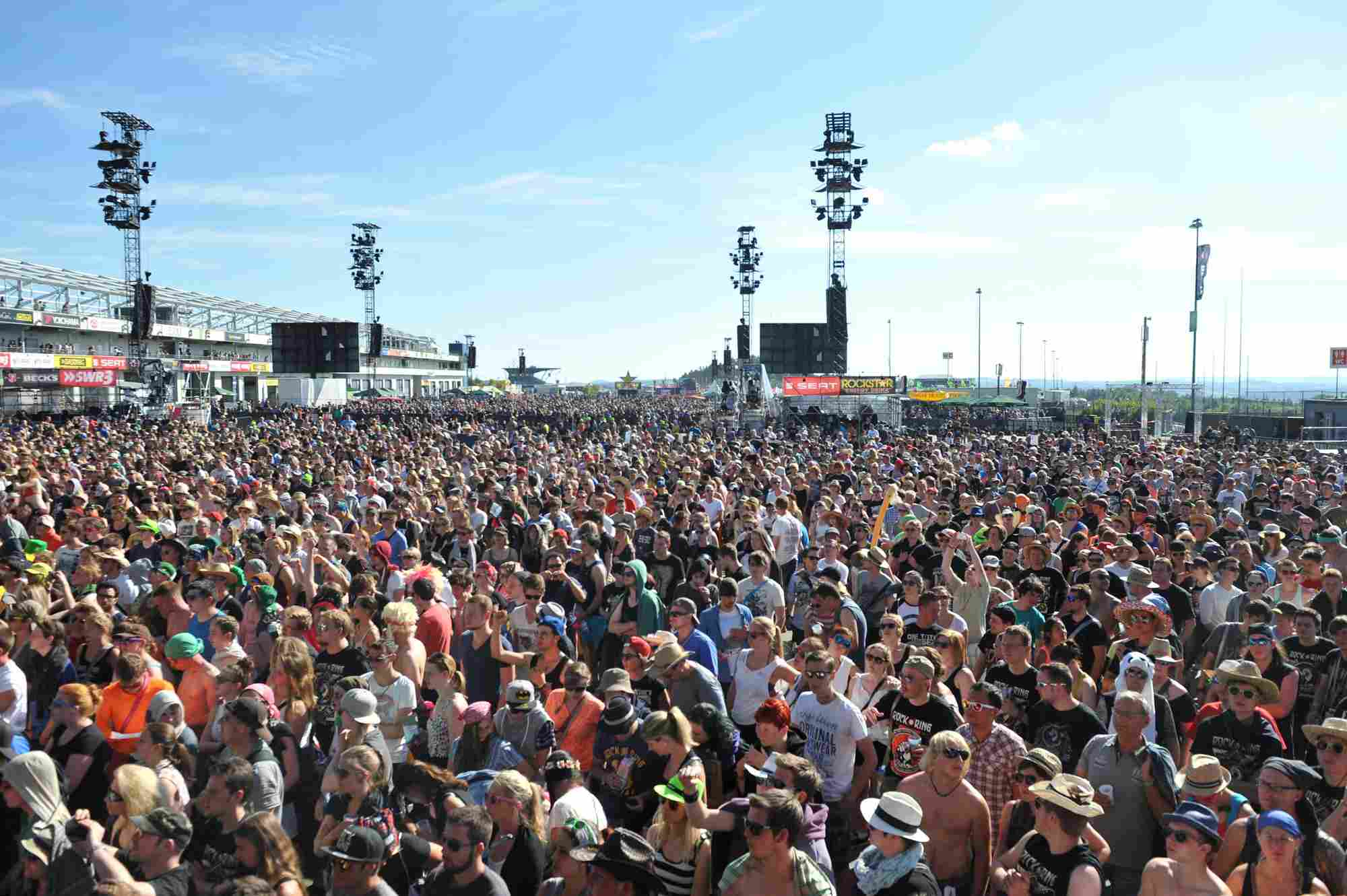 A view of the massive crowd at the Rock am Ring festival