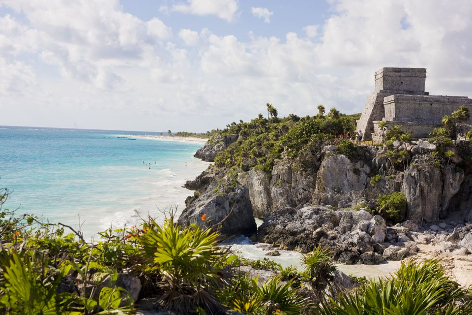El Castillo (The Castle) over Caribbean Sea, Maya ruins at Tulum, Yucatan Peninsula