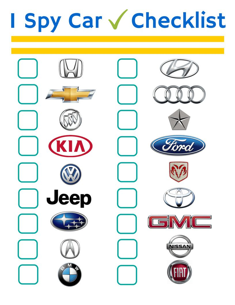 I Spy Car Checklist