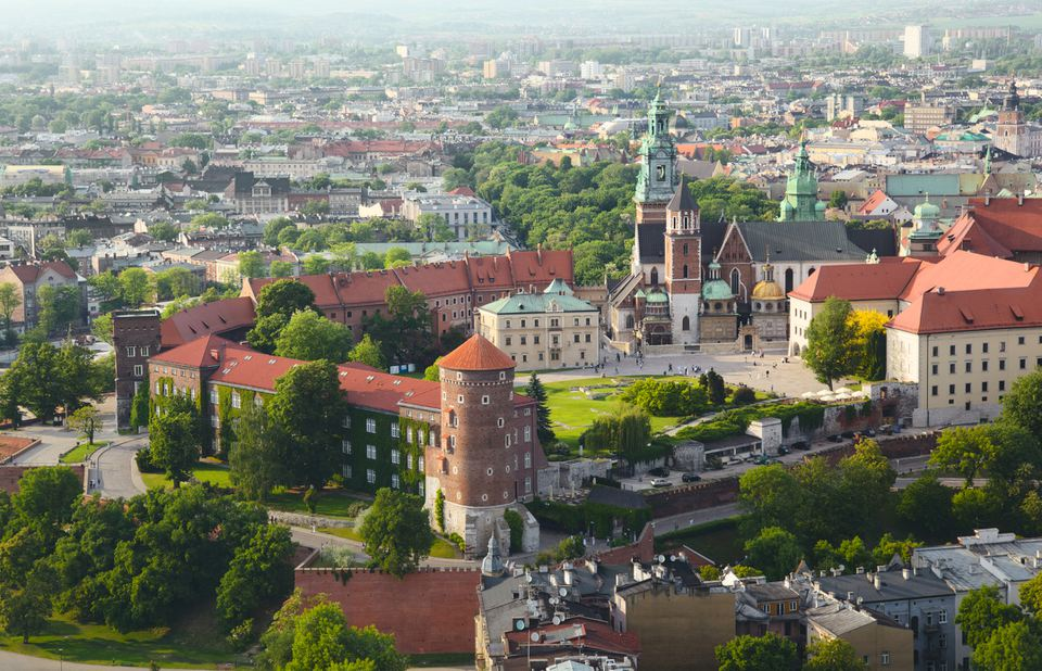 Aerial view of Krakow landmark - Wawel Castle with Wawel Cathedral
