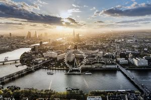 Aerial of the London Eye at sunrise