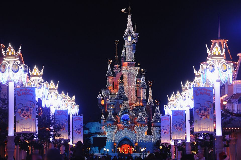 The entrance to Disneyland Paris lit up for the winter holidays in 2009.
