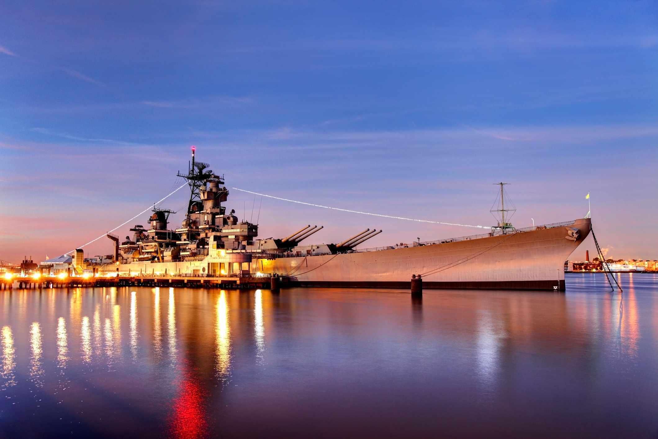 Battleship New Jersey at night