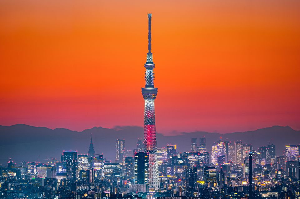 Tokyo Skytree in Orange Twilight Sky
