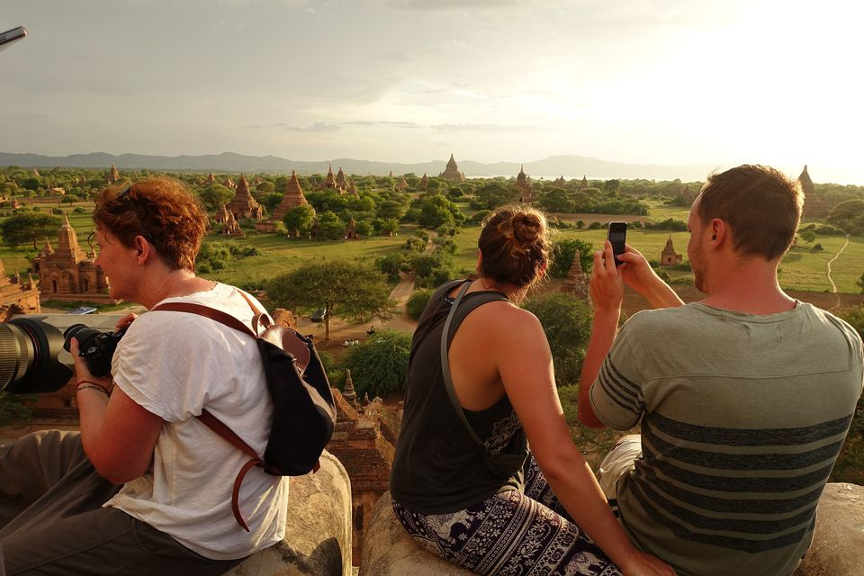 View from upper terrace of Shwesandaw Temple, Bagan, Myanmar