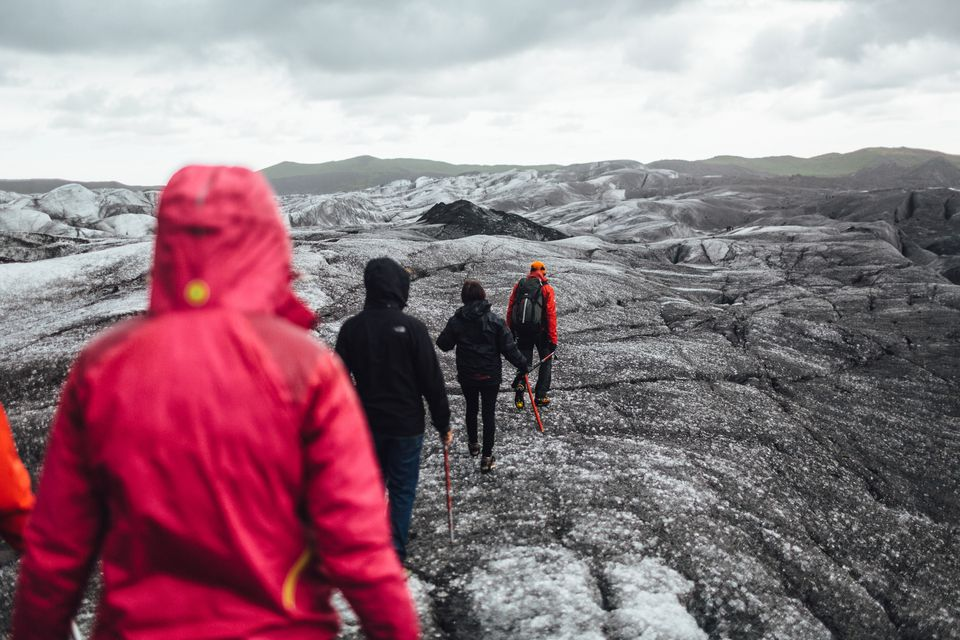 Hiking group on Svínafellsjökull Glacier, Iceland.