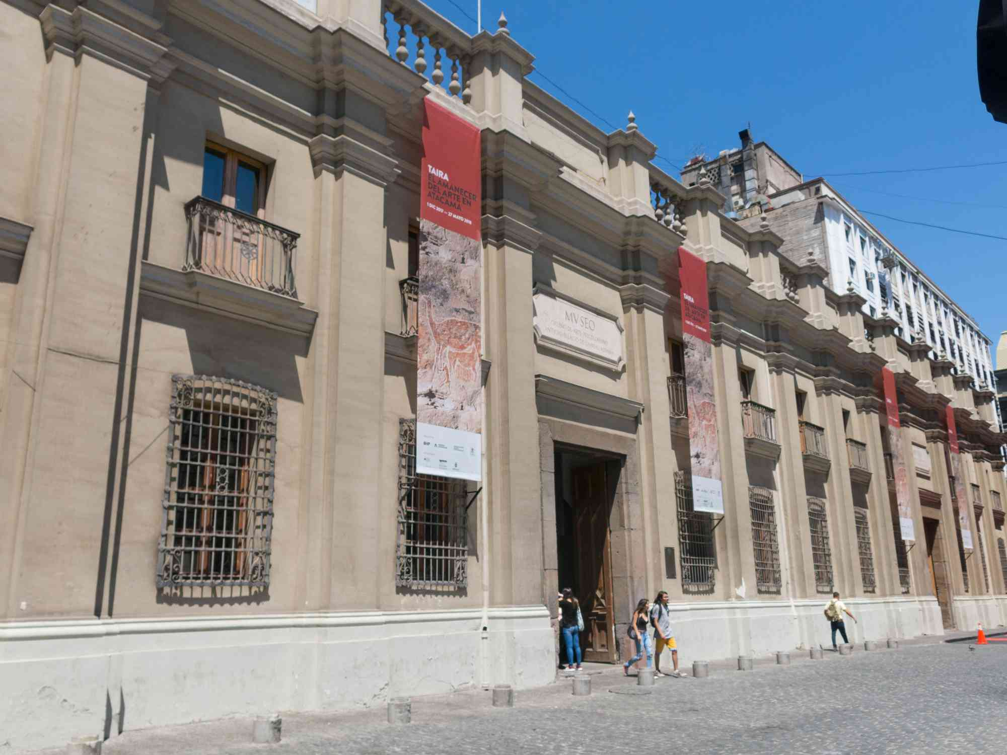SANTIAGO DE CHILE, CHILE - JANUARY 26, 2018: Tourists visiting Chilean Museum of Pre-Columbian Art, an museum dedicated to the art pre-Columbian from Central and South America. Santiago de Chile.