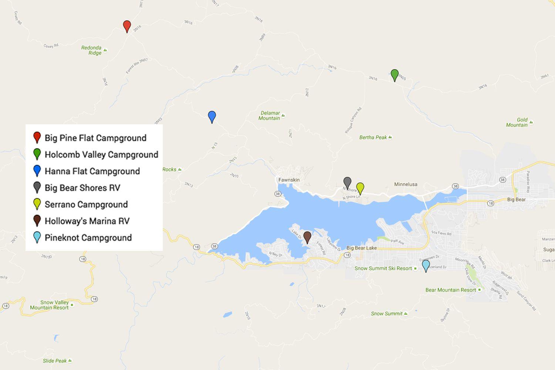 Big Bear California Map Google.Camping At Big Bear California