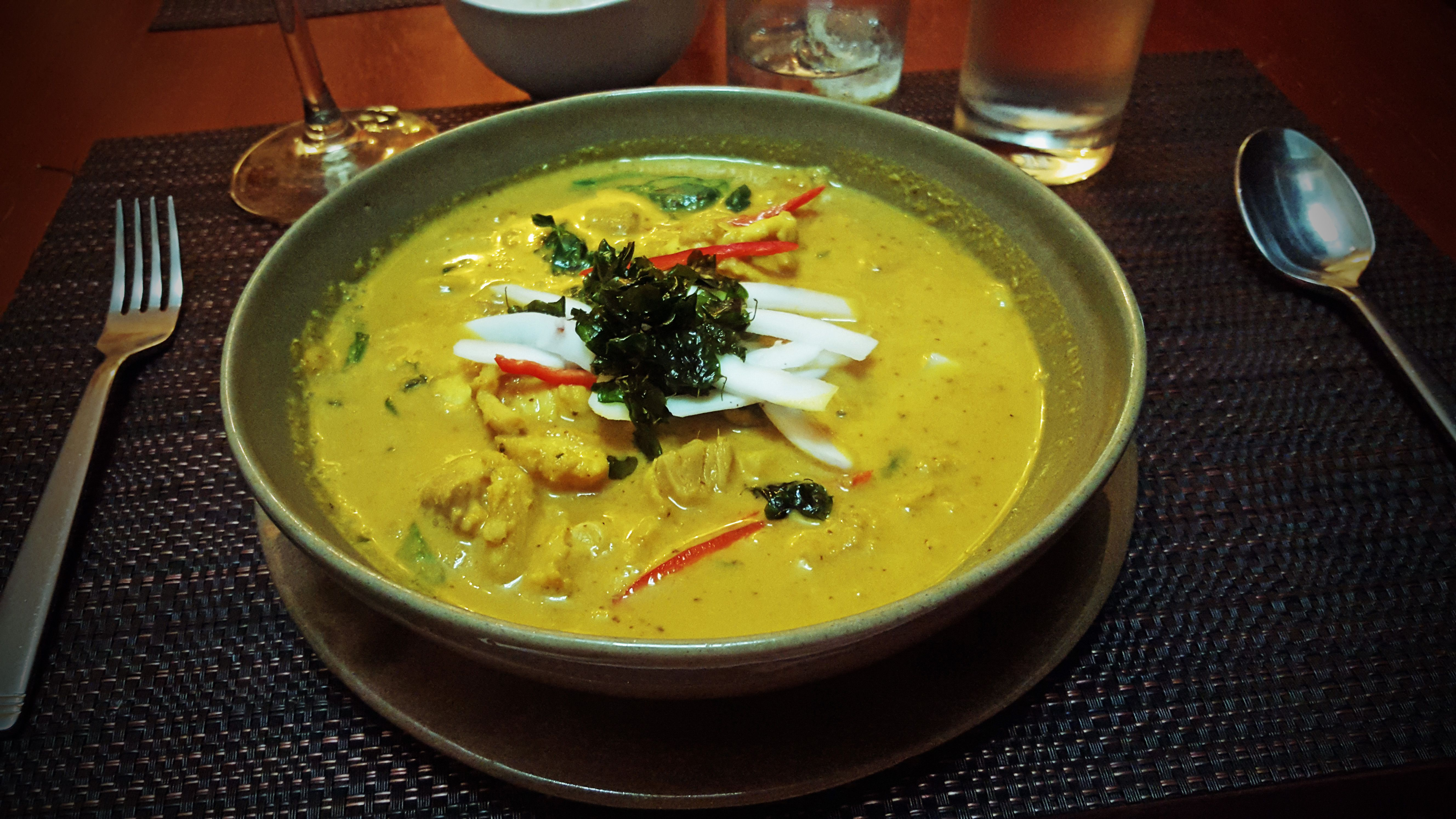 bowl of amok fish curry
