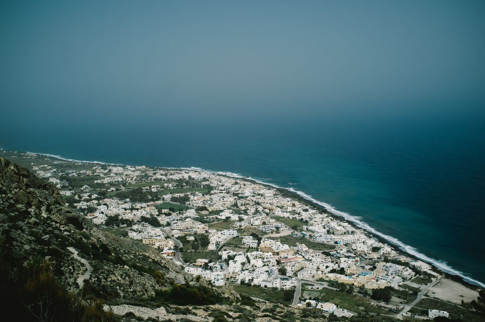 The town of Kamari viewed from above, Thira, Santorini.