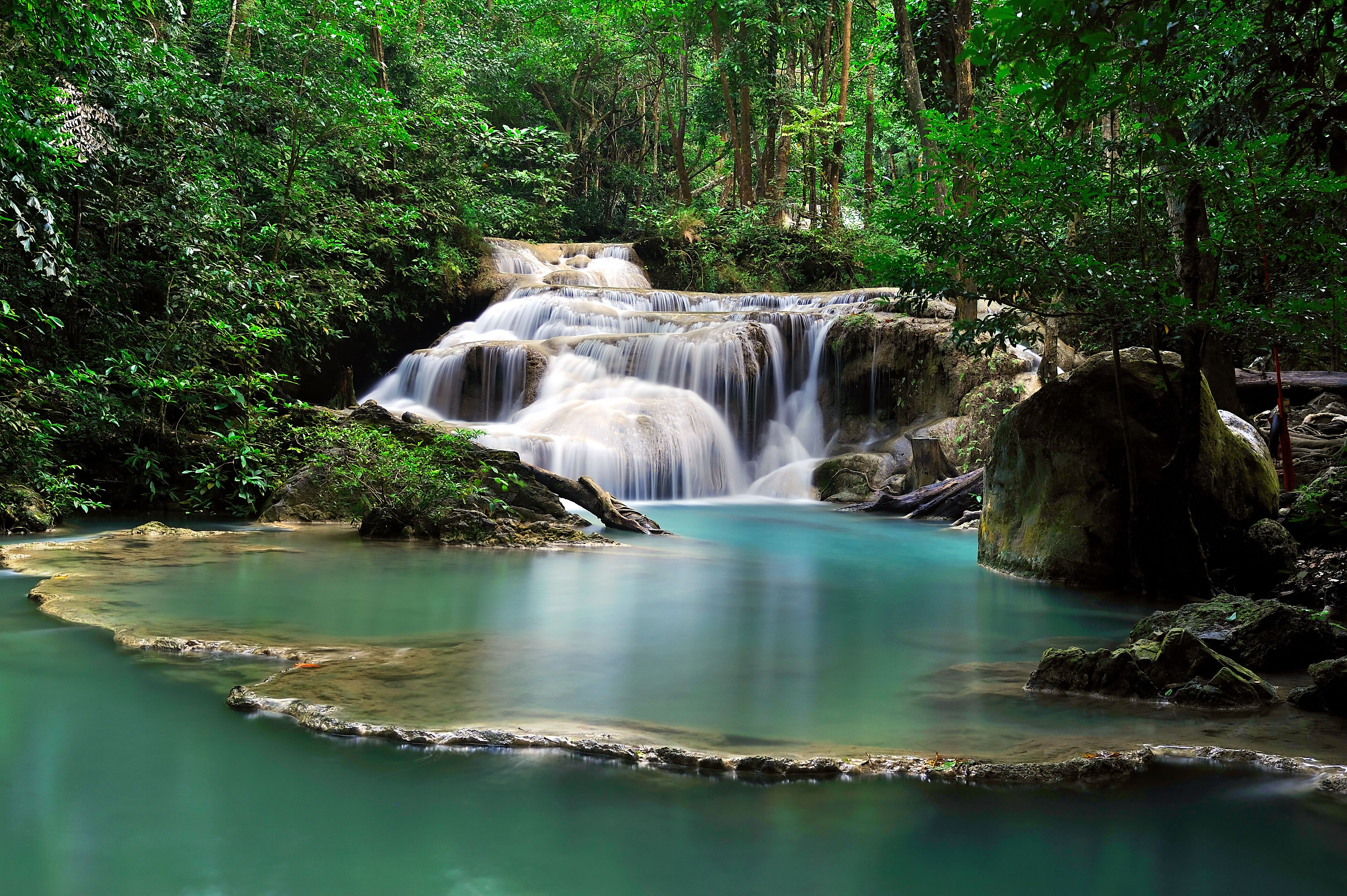 Blue pools at Erawan Falls near Kanchanaburi, Thailand