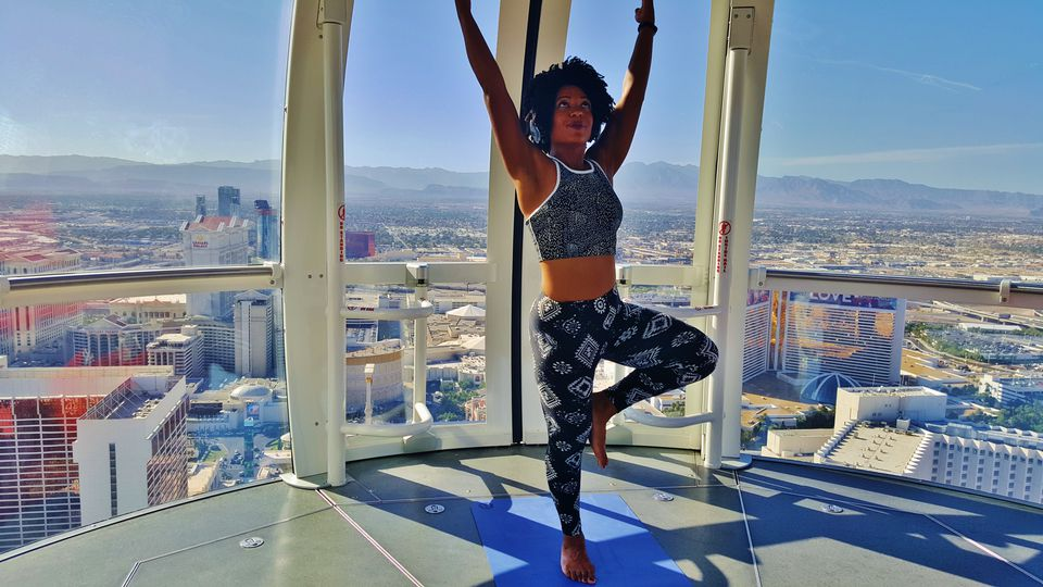 Cassidy Blackwell Practicing Yoga On The High Roller Las Vegas