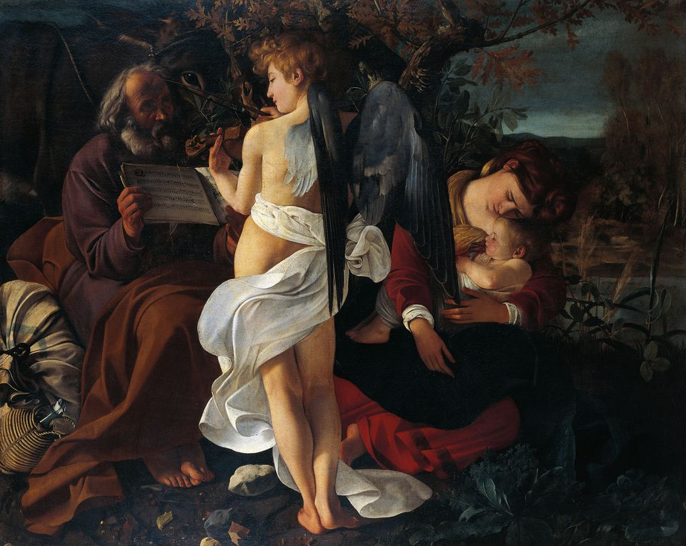 Rest on Flight into Egypt by Michelangelo Merisi da Caravaggio (1571-1610), oil on canvas, 1355 x 1665 cm, 1595-1596
