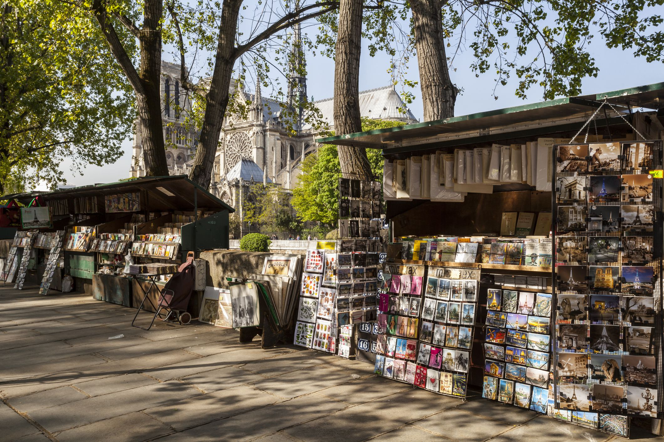 Book and postcard sellers by the river Seine