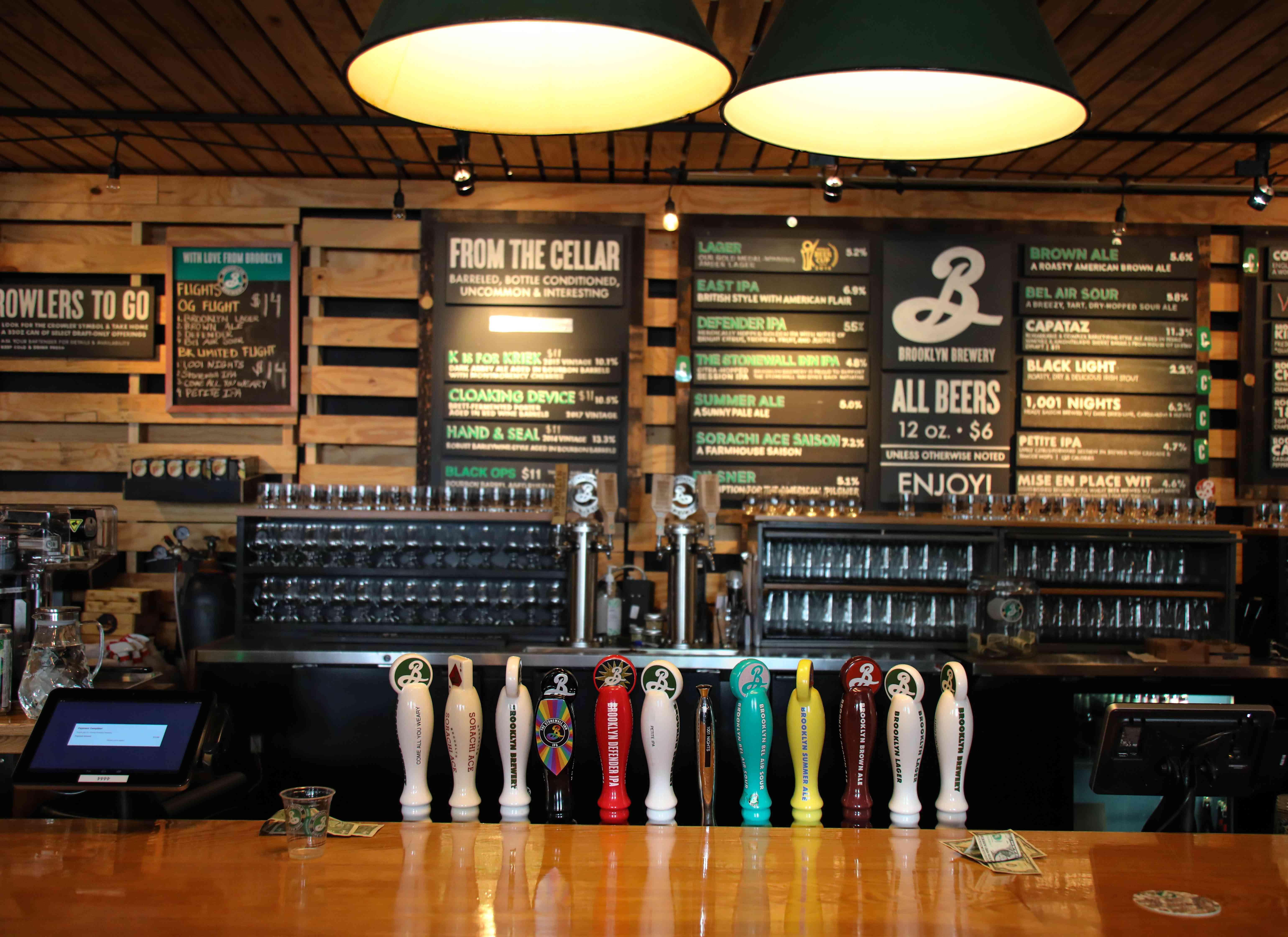 The beer menu at brooklyn brewery