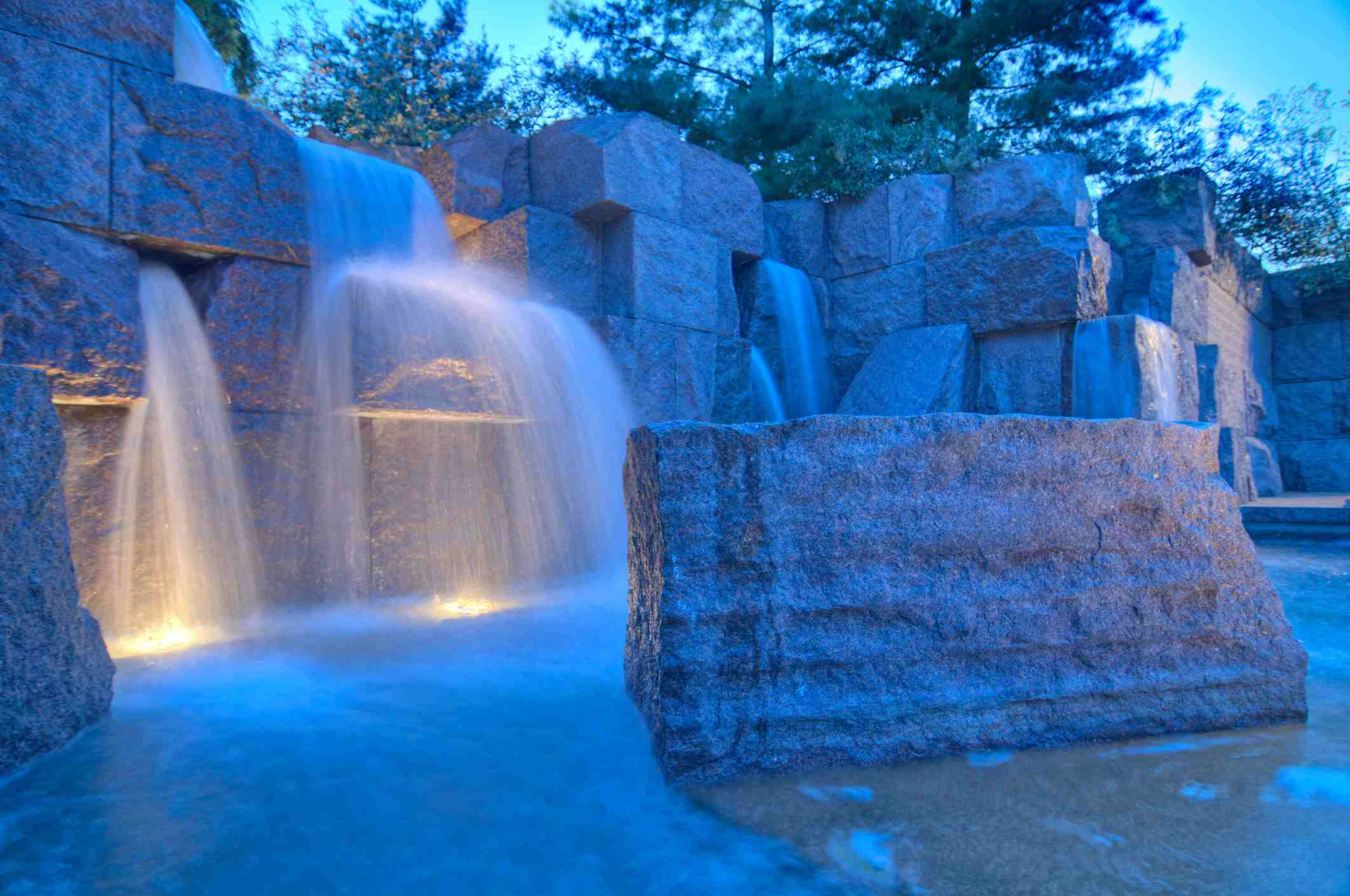 The waterfall at The FDR Memorial located at the Tidal Basin in Washington, DC.