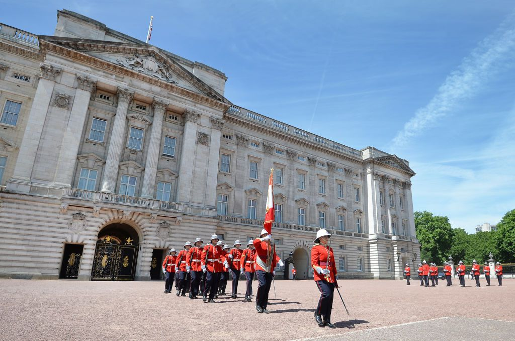 The changing of the guard at Buckingham Palace in London