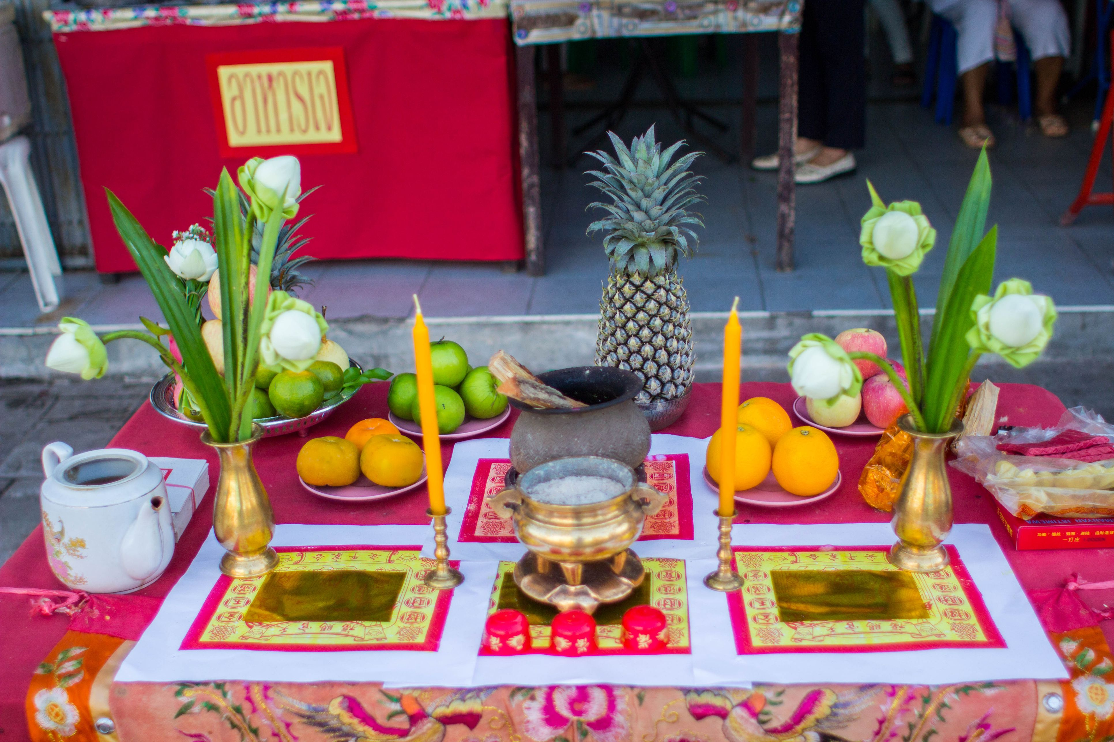 A table set for the Vegetarian Festival in Phuket, Thailand