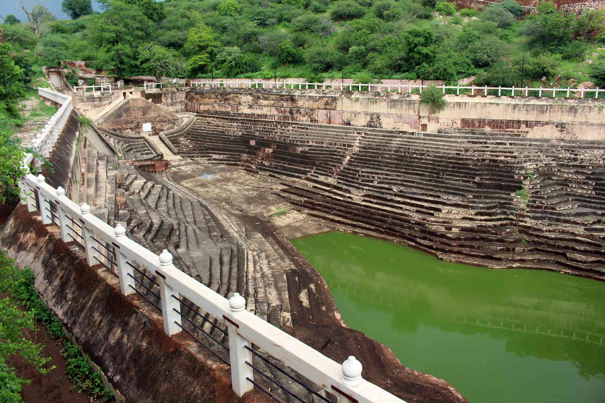 The unique architecture of a stepwell around Nahargarh Fort.