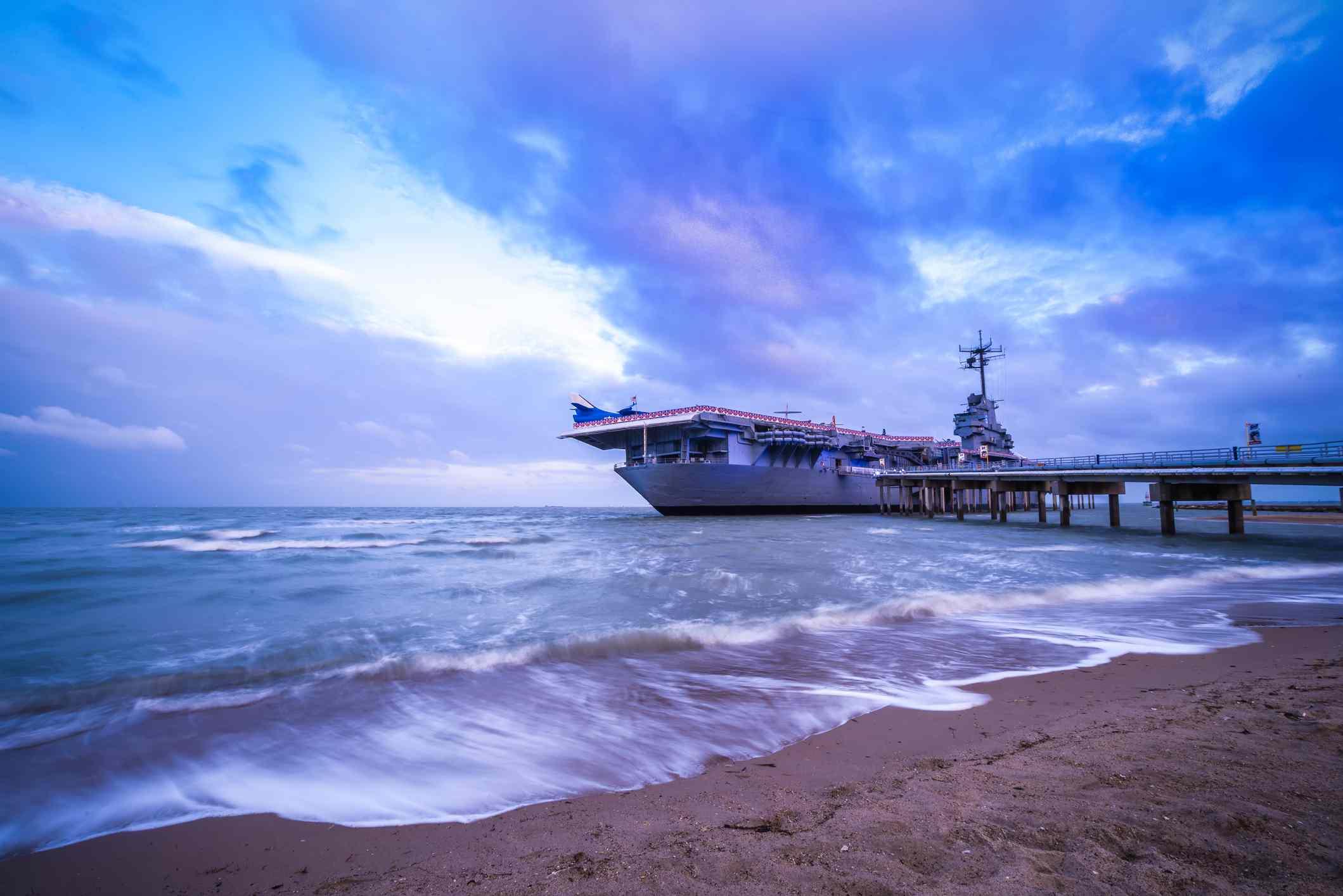 Aircraft carrier USS Lexington docked in Corpus Christi