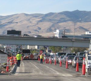 Road construction snarls traffic in Reno, Nevada, NV