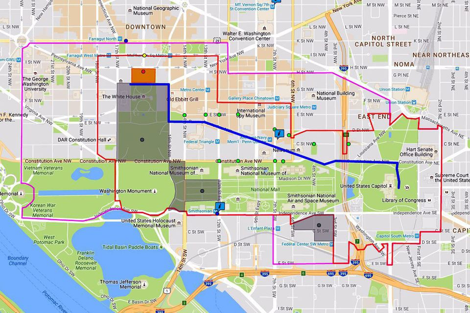 Inaugural Parade Route Map Map