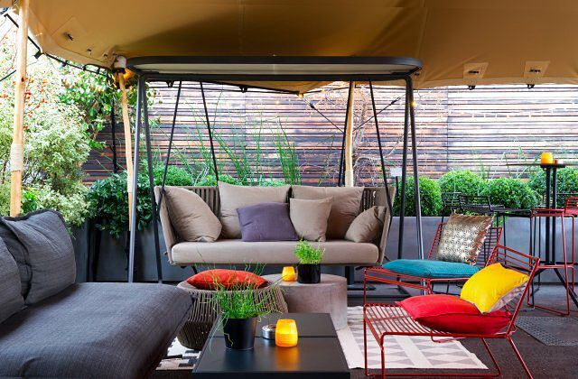 The colorful rooftop bar at Terrass' Hotel in Paris