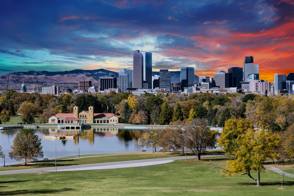Denver, Colorado skyline with mountains