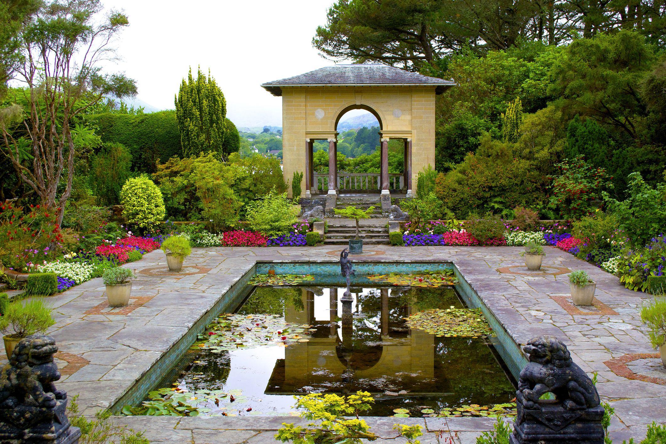 Pond and gardens on Irish island