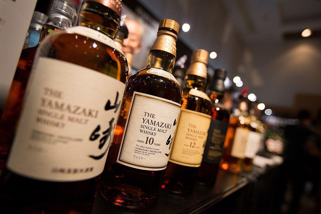 A shelf full of Japanese Yamazaki Whisky