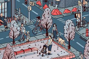 Illustration of people walking through a city with hostile architecture