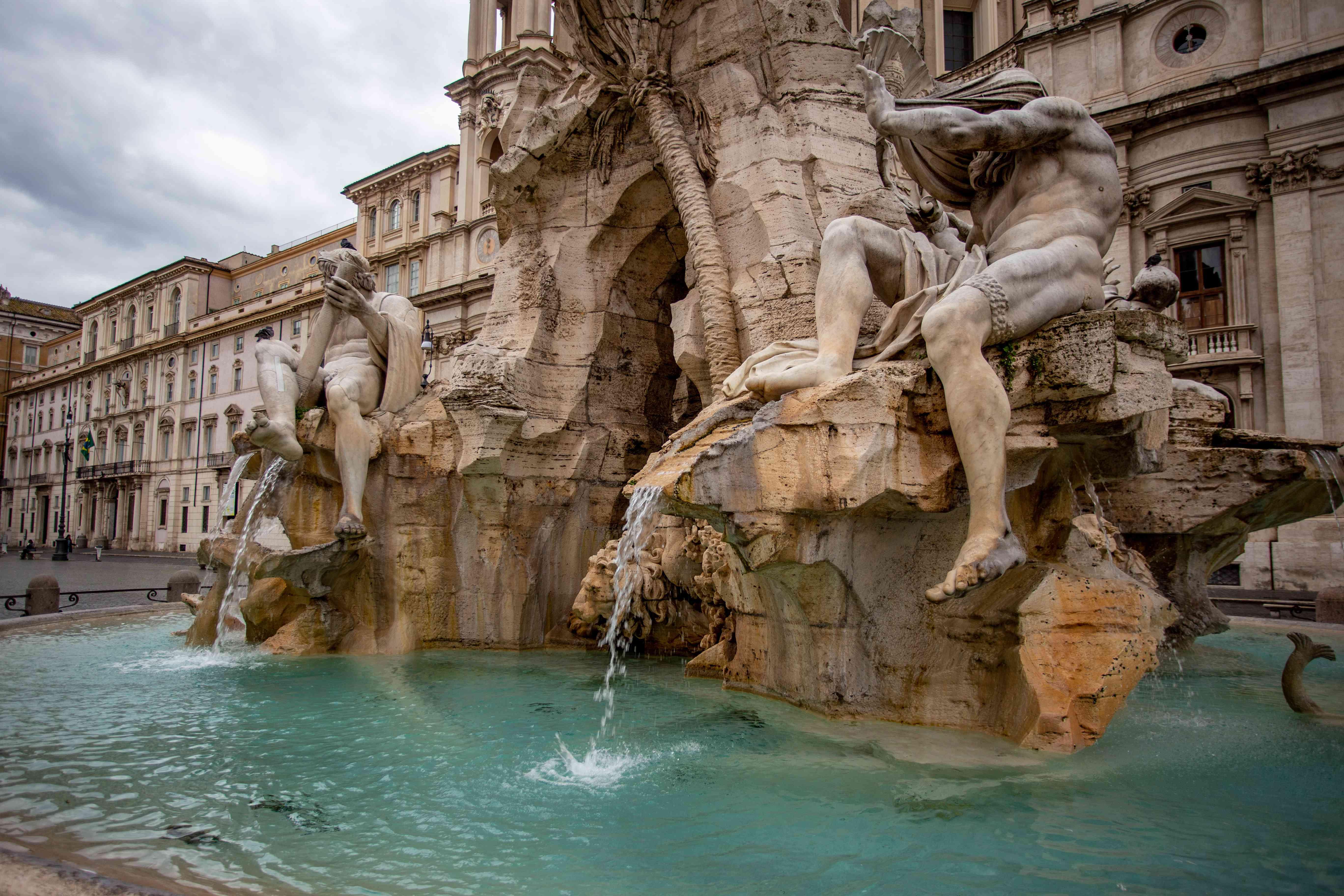 Bernini Fountains (Fontana dei Quattro Fiumi) in the Piazza Navona in Rome, Italy