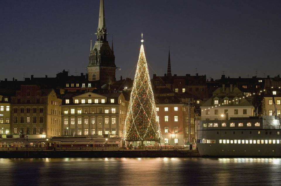 sweden stockholm illuminated christmas tree at harbour