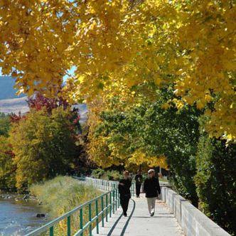 Fall walking along the Truckee River near downtown Reno, Nevada