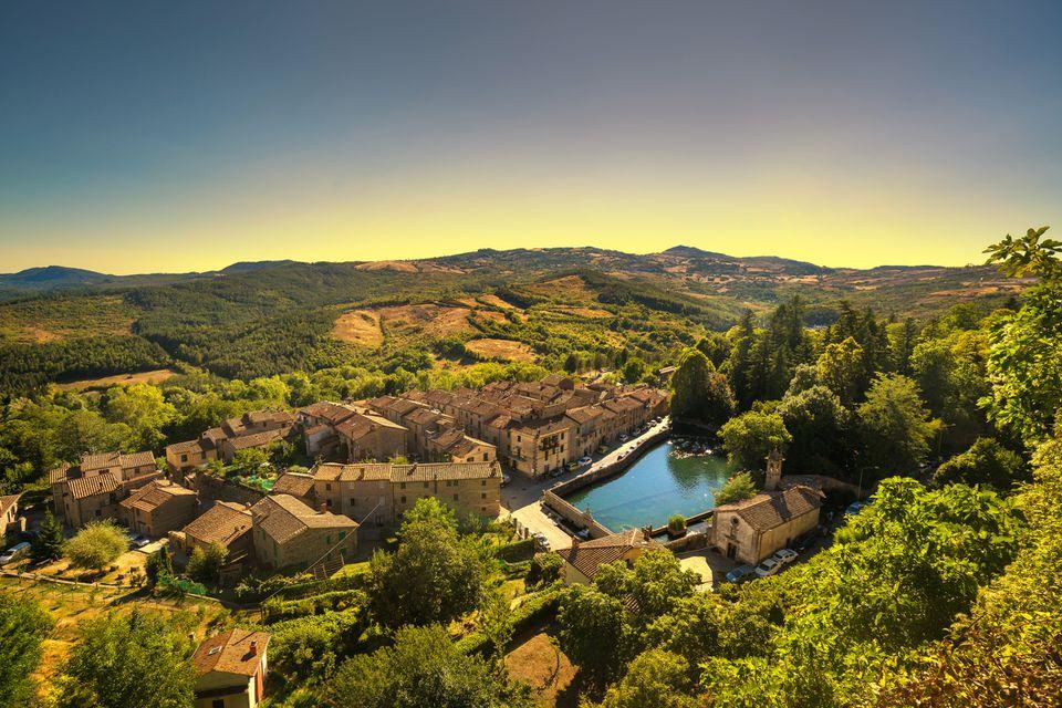 Tuscany, Santa Fiora medieval village, peschiera and church. Monte Amiata, Grosseto, Italy