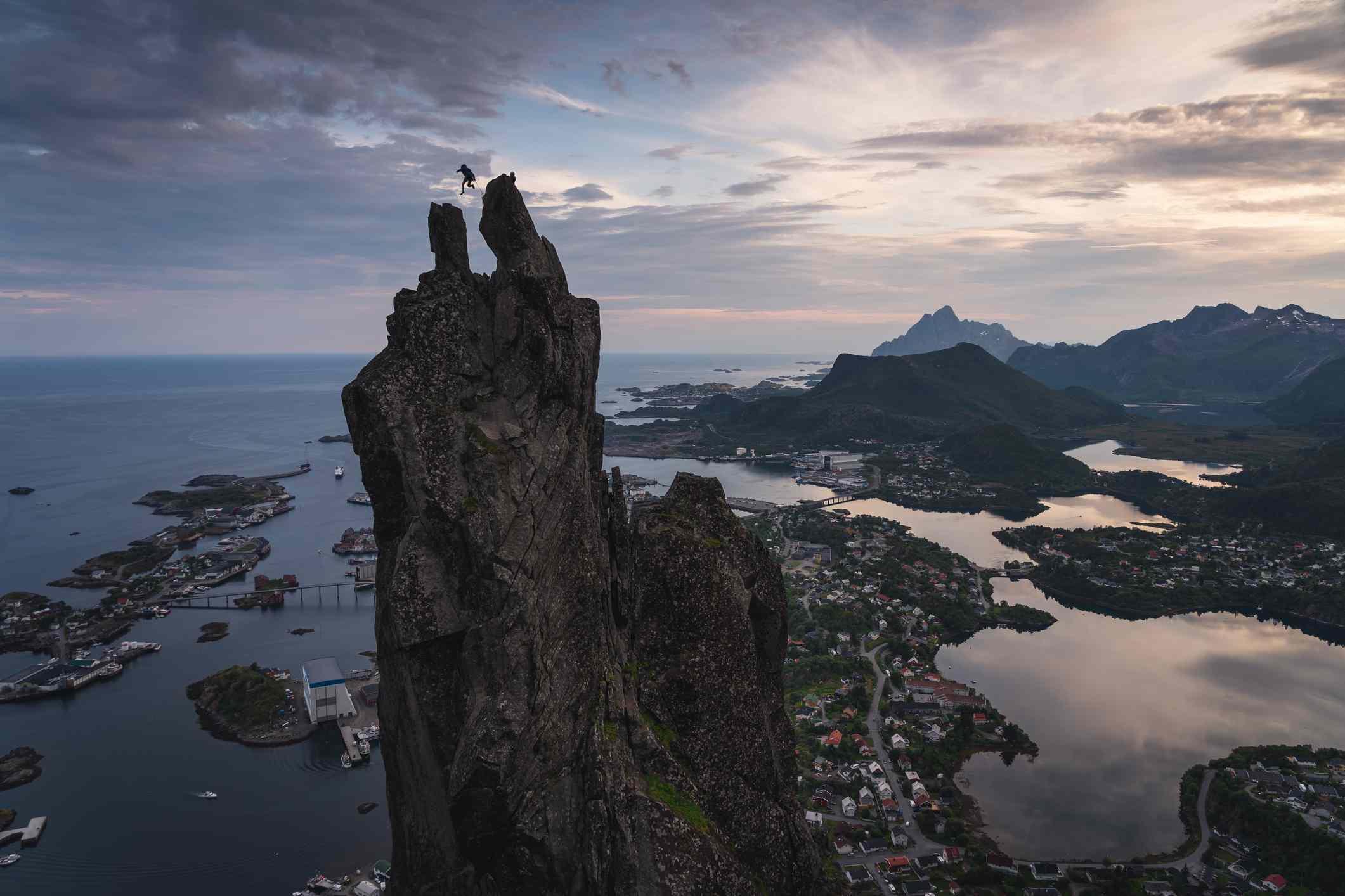 Svolvaergeita or the goat is a pinnacle of rock on top of Svolvaer town, Lofoten island, Norway, Scandinavia
